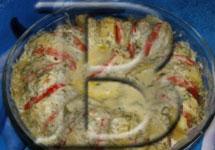 Картофель, запеченный с помидорами.
