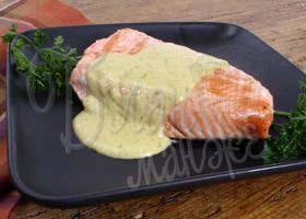 холодной закуски из лосося с огуречным соусом